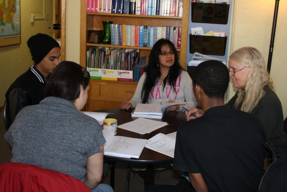 Students participating in a discussion