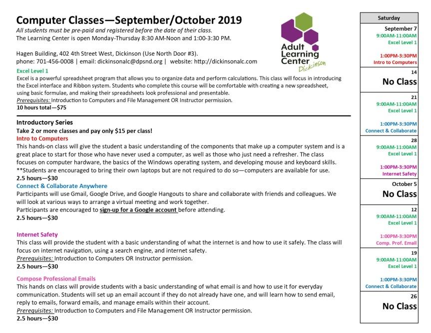 2019 Sept_Oct Calendar